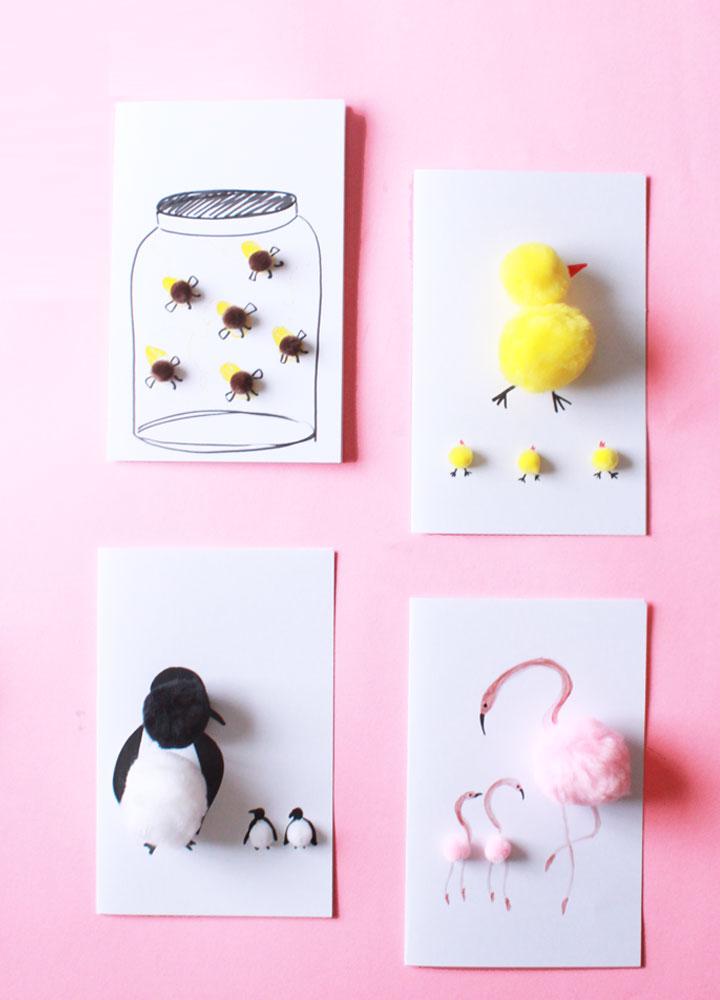 DIY Mother's Day pompom card (via designforsoul.com)