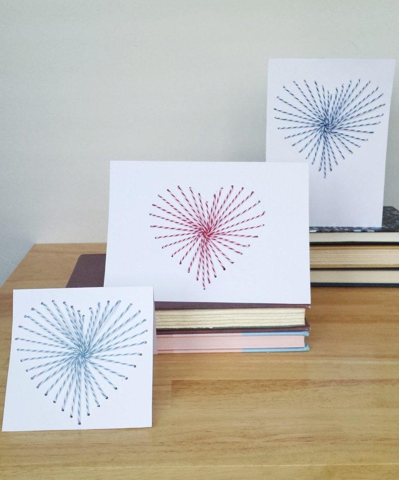 DIY hand sewn greeting cards (via www.destinationdecoration.com)