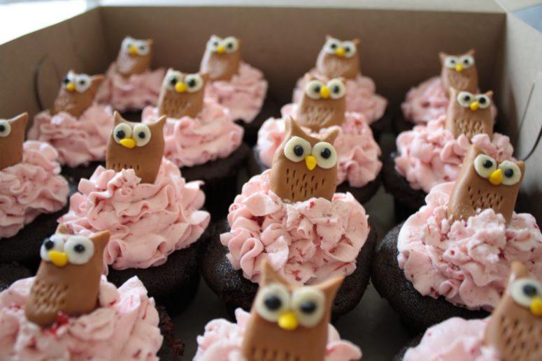 DIY chocolate owl cupcakes with strawberry-raspberry Swiss meringue buttercream (via cakestory.blogspot.ru)