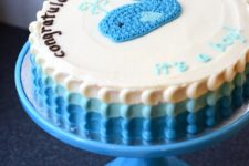 DIY blue whale baby shower cake
