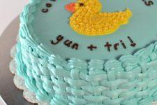 DIY basketweave cake with duckies