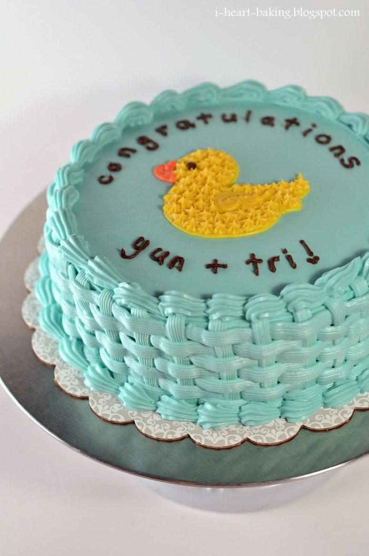 DIY basketweave cake with duckies (via i-heart-baking.blogspot.ru)