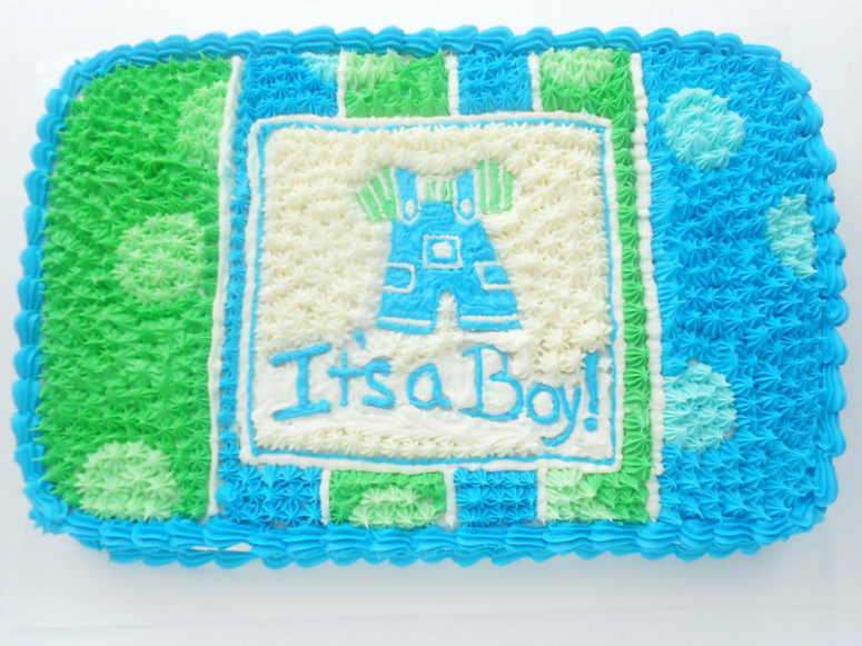 DIY boy's baby shower cake (via www.confessionsofaconfectionista.com)