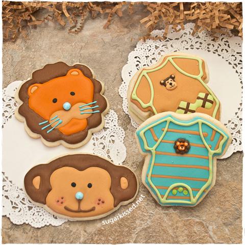 DIY onesie and animal cookies for a baby shower (via sugarkissed.net)