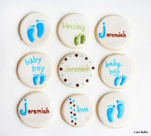 DIY classic boy's baby shower cookies (via iambaker.net)