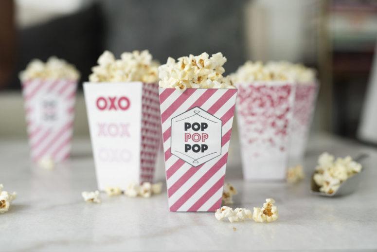DIY pink popcorn boxes (via www.prettyinpistachio.com)