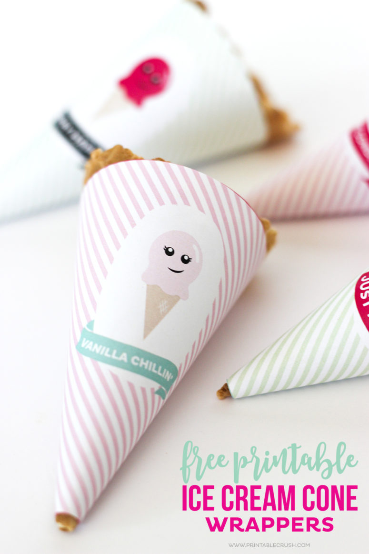 DIY berry, vanilla and peach ice cream cone wrappers (via printablecrush.com)