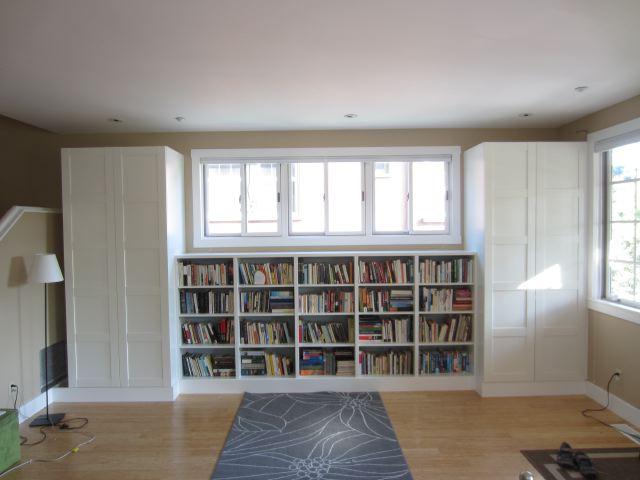 DIY Ikea Pax wardrobes and Besta shelves into a chic closet (via shirleyandchris.net)