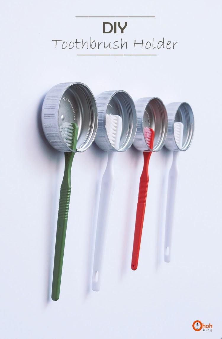 DIY toothbrush holders using caps (via www.ohohblog.com)