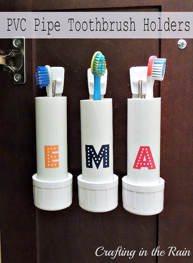 DIY PVC pipe toothbrush holders (via www.craftingintherain.com)