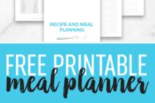DIY free printable meal planner