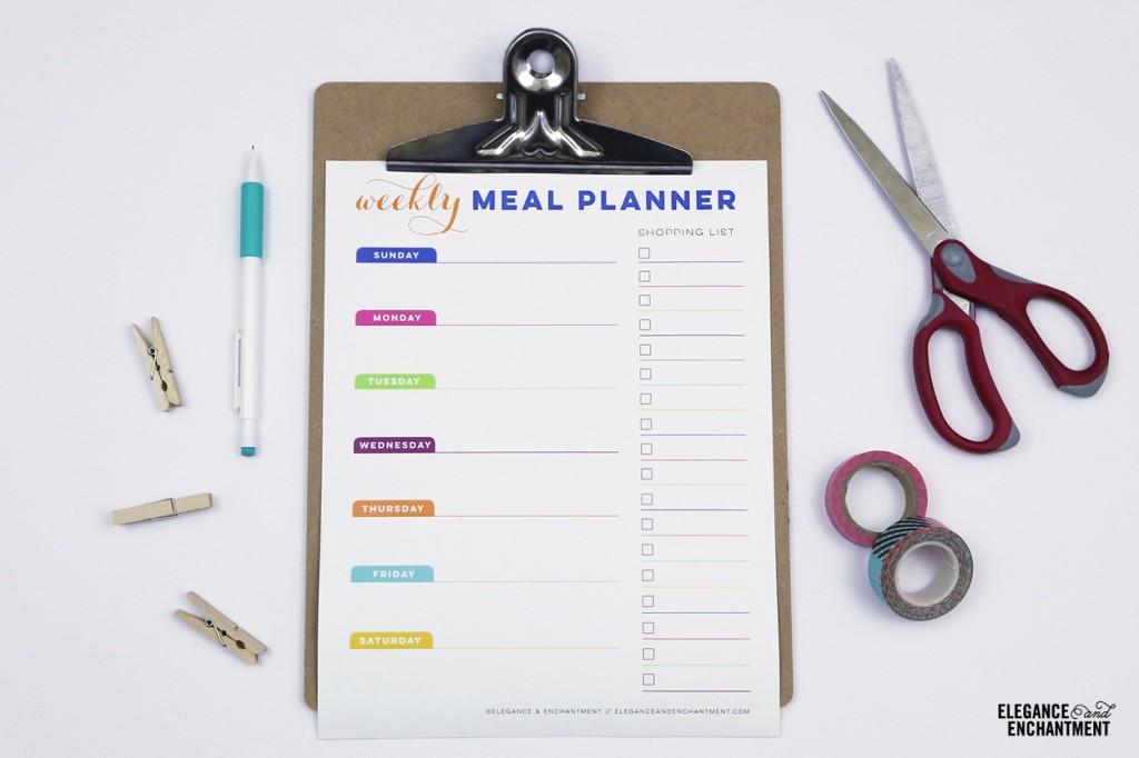 DIY colorful menu planner