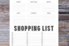 DIY menu and shopping list