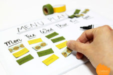 DIY board menu planner with washi tape magnets