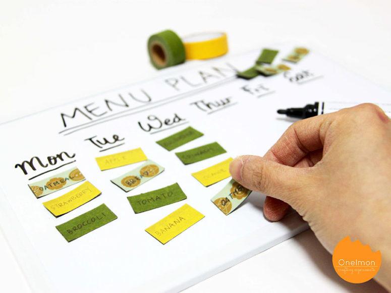 DIY board menu planner with washi tape magnets (via onelmon.com)