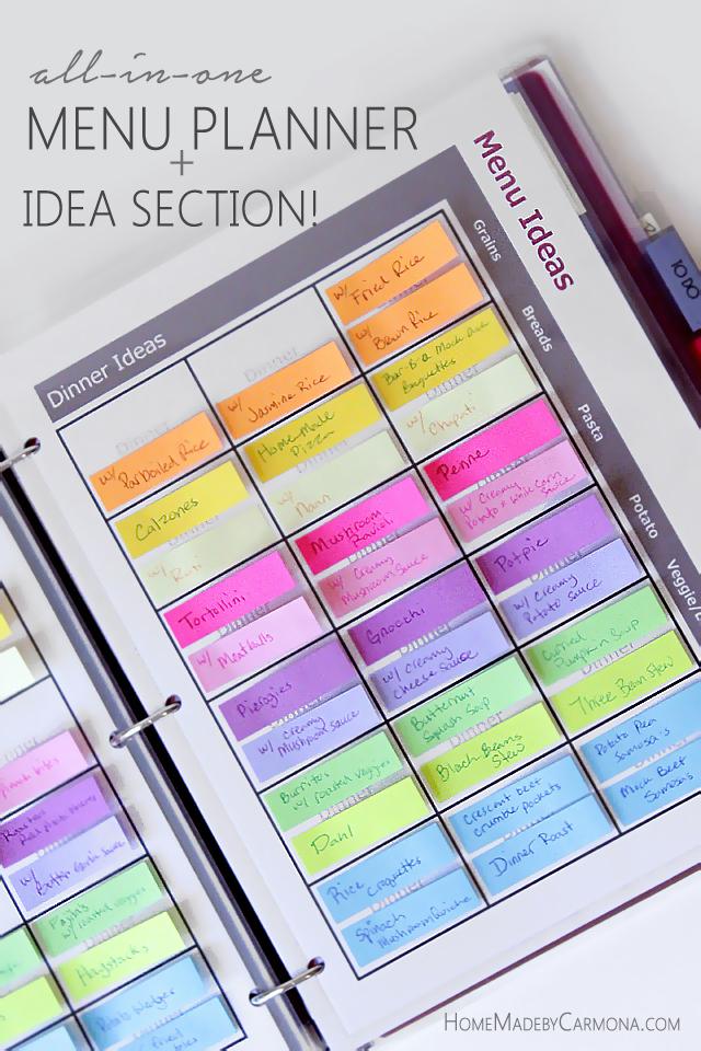 DIY menu planner (via www.homemadebycarmona.com)