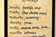 DIY wipe off menu board