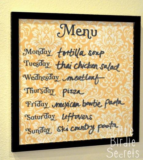 DIY wipe off menu board (via www.makeandtakes.com)