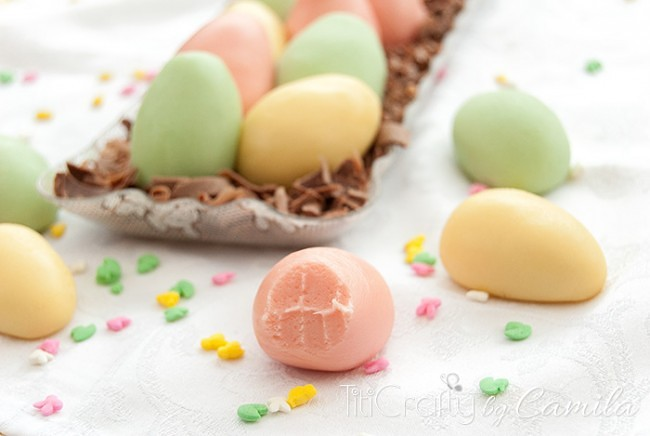 DIY condensed milk truffles shaped as Easter eggs