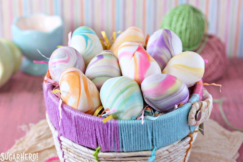 DIY marble Easter egg truffles