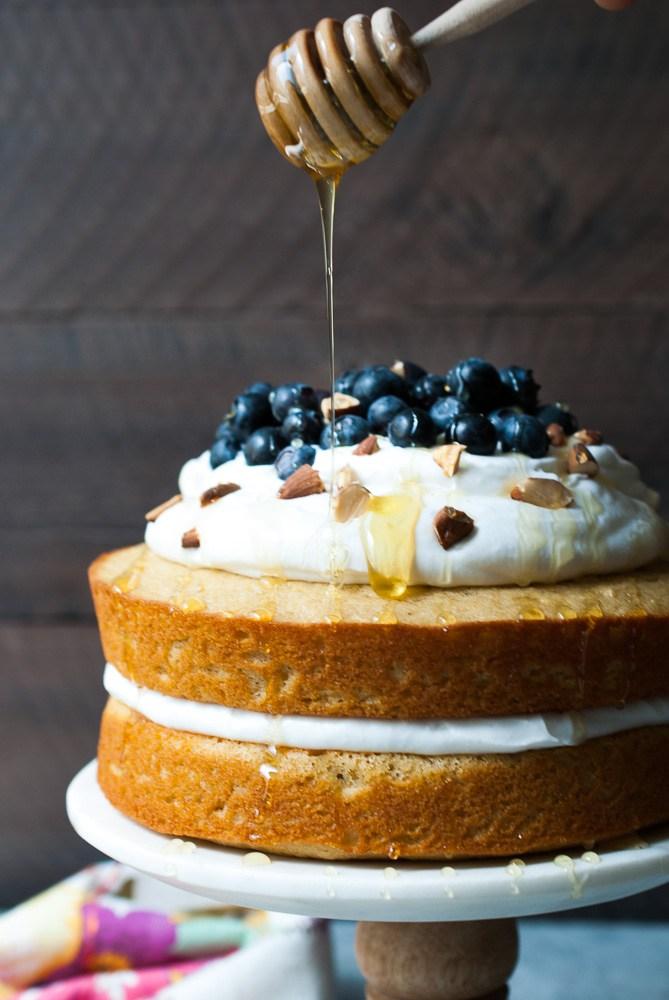 DIY lemon blueberry cake with whipped cream (via www.lifeisbutadish.com)