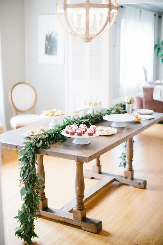 a eucalyptus dessert table garland is always a great idea