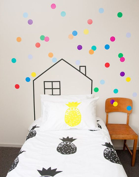 black and white and a yellow pineapple print bedding for a kid's space