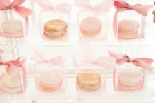 03 blush macarons packed in individual boxes with ribbon bows