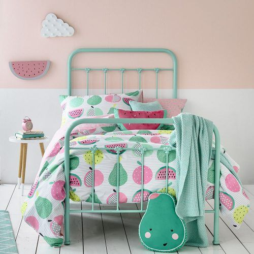 cute pastel fruit-printed bedding for little ones