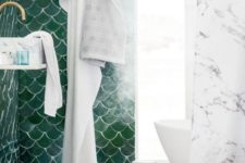 03 one green fish scale tile wall for a bold statement in a marble bathroom