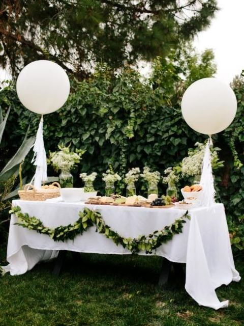 a greenery garland that decorated a dessert table