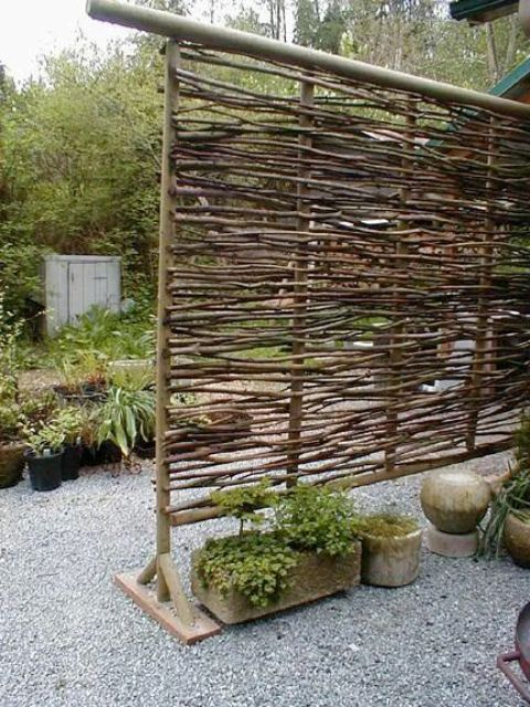 a natural wood stick screen for a rustic space