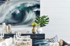 04 an ocean swirl artwork in the dining room makes a bold statement