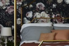 04 make your bedroom exquisite with moody floral wallpaper and some metallic accents