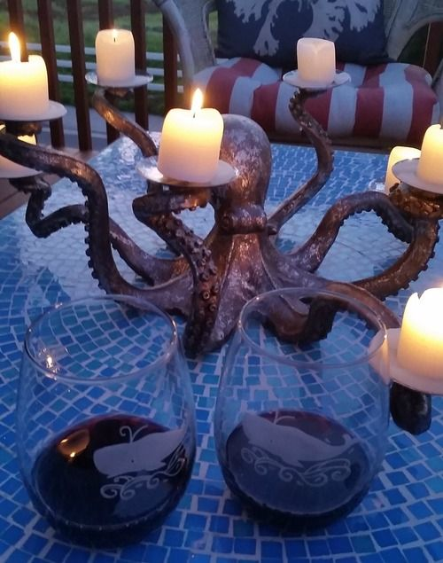 a metal octopus candle holder looks mysterious and catches an eye