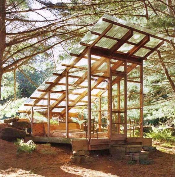 a separate wood and glass construction for sleeping outside with comfort