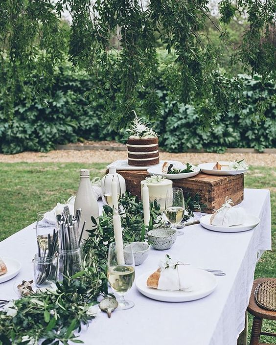 A Textural Greenery Garland For An Outdoor Baby Shower