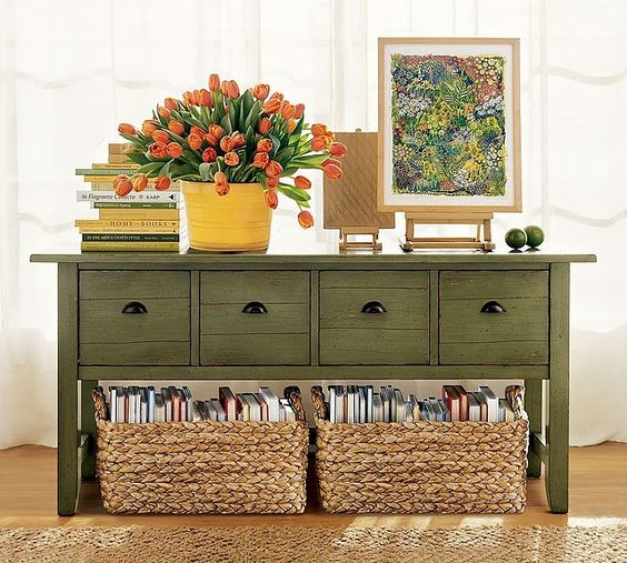 baskets with books under the dresser save some space