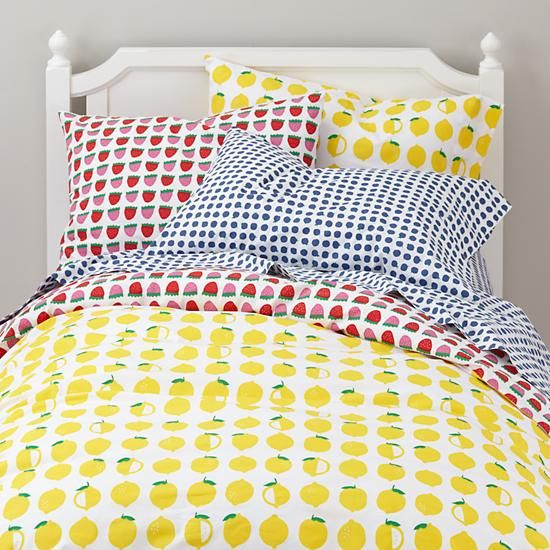 cute lemons, strawberries amd blueberries bedding set for a kid's room
