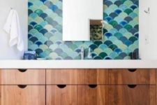06 fish scale tile sink wall in the shades of blue and green
