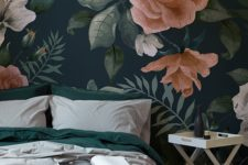 06 oversized floral print wallpaper to make a statement in a bedroom