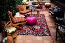06 printed rugs and furniture with bold ottomans have a Moroccan flavor