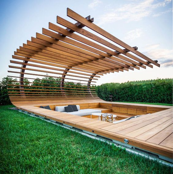 Stunning Sunken Conversation Pit In The Wooden Deck And With A Slab Roof  Over It