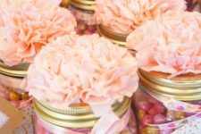 07 colorful candies in jars topped with fabric flowers