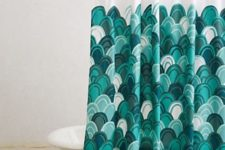 07 fish scale curtain in green shades