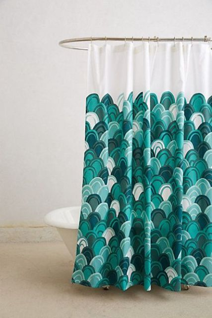 fish scale curtain in green shades