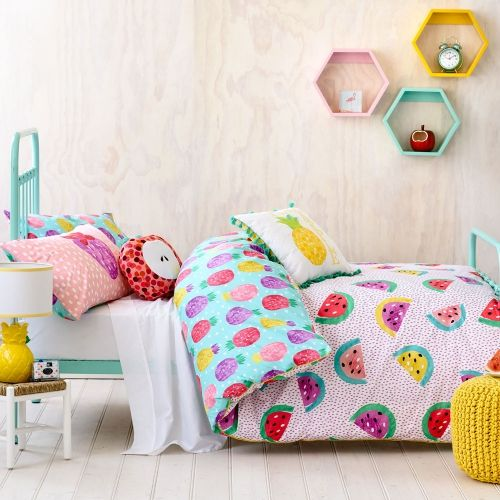 funny watermelon and pineapple printed bedding and an apple pillow