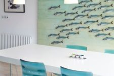 07 oversized bold sea artwork with fish for the dining room