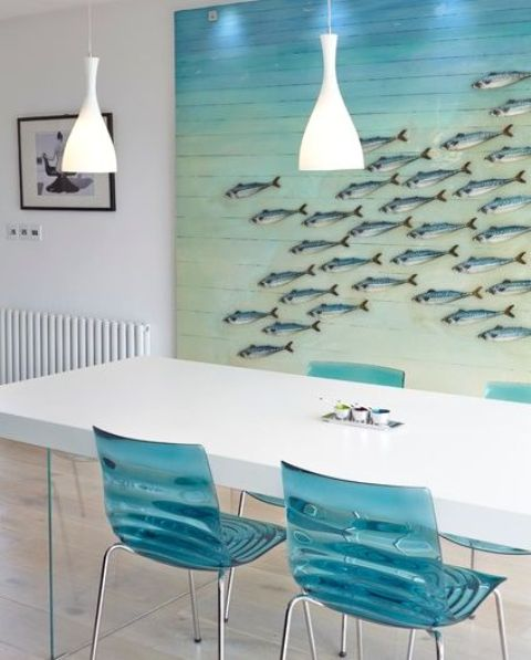 oversized bold sea artwork with fish for the dining room