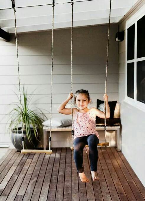 simple rope and wood swings for the front porch